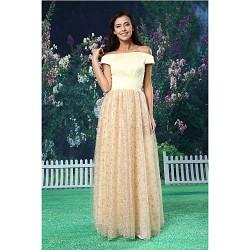 A Line Formal Evening Dress Champagne Floor Length Off The Shoulder Lace Satin