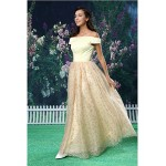 A-line Formal Evening Dress - Champagne Floor-length Off-the-shoulder Lace / Satin Special Occasion Dresses