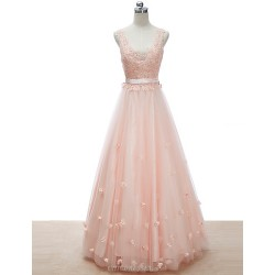 Formal Evening Dress - Pearl Pink / Ruby / Silver Petite A-line V-neck Floor-length Lace / Tulle