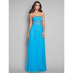 Formal Evening Prom Military Ball Dress Pool Plus Sizes Petite A Line Princess Strapless Floor Length Chiffon