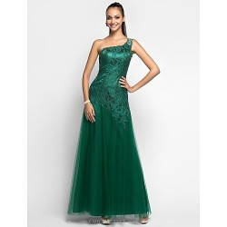 Prom Military Ball Formal Evening Dress Dark Green Plus Sizes Petite Sheath Column One Shoulder Floor Length Tulle Lace