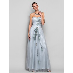 Formal Evening Prom Military Ball Dress Silver Plus Sizes Petite A Line Princess Strapless Sweetheart Floor Length Tulle