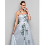 Formal Evening / Prom / Military Ball Dress - Silver Plus Sizes / Petite A-line / Princess Strapless / Sweetheart Floor-length Tulle Special Occasion Dresses