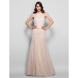Formal Evening Prom Military Ball Dress Champagne Plus Sizes Petite Sheath Column Jewel Floor Length Lace Charmeuse