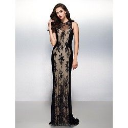 Formal Evening Dress Black Sheath Column Jewel Sweep Brush Train Lace