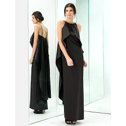 Formal Evening / Prom / Military Ball Dress - Black Plus Sizes / Petite Sheath/Column Jewel Floor-length Stretch Satin