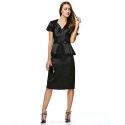 Cocktail Party Dress Black Sheath Column V Neck Knee Length Charmeuse