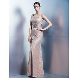 Formal Evening Dress Brown Sheath Column Strapless Floor Length Lace