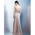 Formal Evening Dress - Brown Sheath/Column Strapless Floor-length Lace Special Occasion Dresses