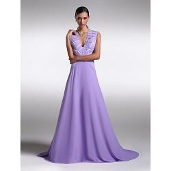 Formal Evening Dress Lavender Plus Sizes Petite A Line V Neck Sweep Brush Train Chiffon