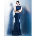 Formal Evening Dress - Dark Navy Trumpet/Mermaid Jewel Floor-length Lace Special Occasion Dresses