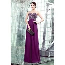Formal Evening Dress Grape Plus Sizes Petite Sheath Column Strapless Sweetheart Floor Length Chiffon