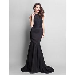 Formal Evening Dress Black Plus Sizes Petite Trumpet Mermaid Jewel Court Train Lace Stretch Satin