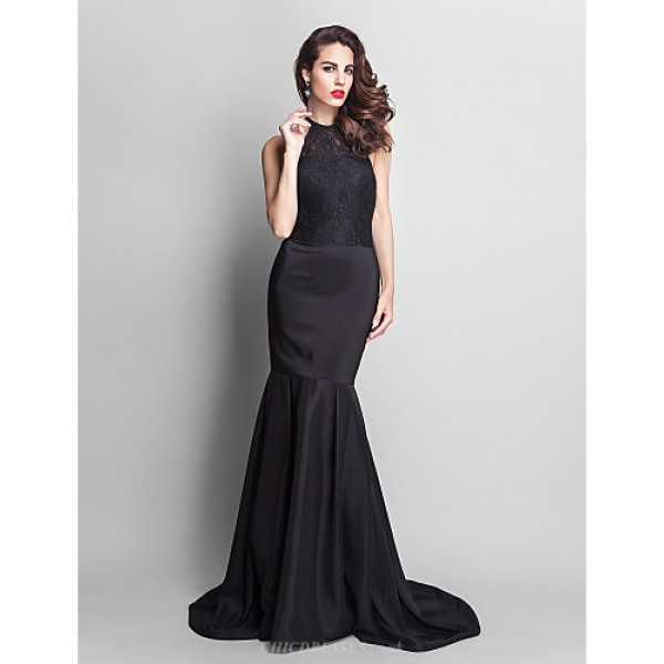 Formal Evening Dress - Black Plus Sizes / Petite Trumpet/Mermaid Jewel Court Train Lace / Stretch Satin Special Occasion Dresses