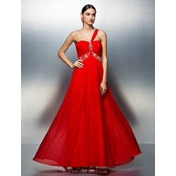 Formal Evening Dress - Ruby Plus Sizes / Petite A-line One Shoulder Floor-length Tulle