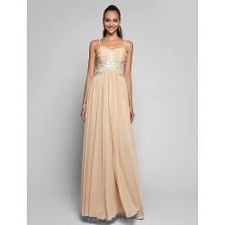 Formal Evening Prom Military Ball Dress Champagne Plus Sizes Petite Sheath Column Spaghetti Straps Floor Length Chiffon