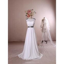 Formal Evening Dress - Ivory Sheath/Column Jewel Floor-length Chiffon / Stretch Satin