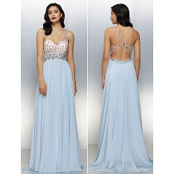 Formal Evening Dress - Sky Blue Plus Sizes / Petite A-line One Shoulder Floor-length Chiffon