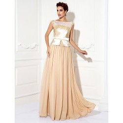 Formal Evening Prom Military Ball Dress Champagne Plus Sizes Petite Sheath Column Bateau Floor Length Chiffon Stretch Satin