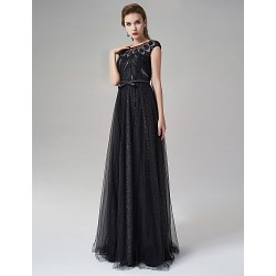 Formal Evening Dress - Black A-line Jewel Floor-length Satin