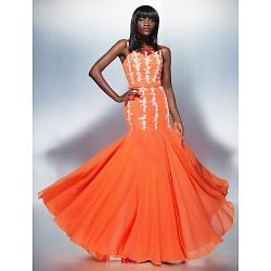 Formal Evening Dress Orange Plus Sizes Petite Trumpet Mermaid Scoop Floor Length Chiffon Tulle