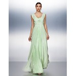 TS Couture Dress - Sage Plus Sizes / Petite A-line Straps Floor-length Chiffon / Tulle Special Occasion Dresses