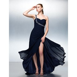 Formal Evening Dress - Dark Navy Plus Sizes / Petite A-line One Shoulder Sweep/Brush Train Chiffon