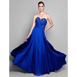 Formal Evening Dress - Royal Blue Plus Sizes / Petite Sheath/Column Sweetheart Sweep/Brush Train Satin Chiffon