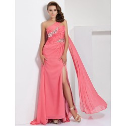 Prom Formal Evening Dress Watermelon Plus Sizes Petite A Line One Shoulder Sweep Brush Train Chiffon