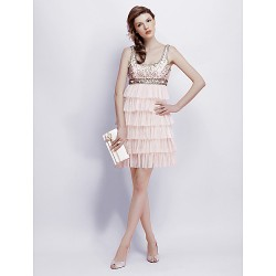 Cocktail Party Sweet 16 Holiday Dress Pearl Pink Plus Sizes Petite A Line Princess Square Short MiniChiffon