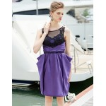 Cocktail Party Dress - Grape Sheath/Column Jewel Short/Mini Satin Special Occasion Dresses