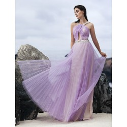Formal Evening Dress Lavender A Line Halter Floor Length Chiffon