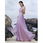TS Couture Formal Evening Dress - Lavender A-line Halter Floor-length Chiffon Special Occasion Dresses