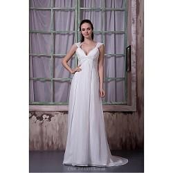 Formal Evening Dress Plus Sizes Petite A Line Queen Anne Sweep Brush Train Chiffon