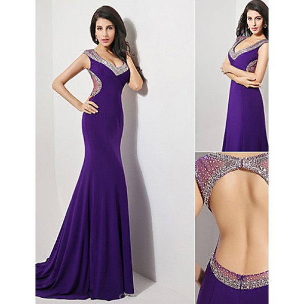 Formal Evening Dress - Regency Plus Sizes / Petite Sheath/Column V-neck Floor-length / Court Train Special Occasion Dresses