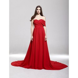 Formal Evening Dress Ruby Plus Sizes Petite A Line Off The Shoulder Sweetheart Court Train Chiffon
