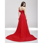Formal Evening Dress - Ruby Plus Sizes / Petite A-line Off-the-shoulder / Sweetheart Court Train Chiffon Special Occasion Dresses