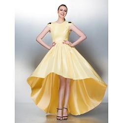Dress - Daffodil Plus Sizes / Petite A-line Jewel Asymmetrical Taffeta