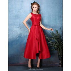 Cocktail Party Dress Ruby Silver A Line Jewel Tea Length Polyester Satin Chiffon