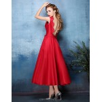 Cocktail Party Dress - Ruby / Silver A-line Jewel Tea-length Polyester / Satin Chiffon Special Occasion Dresses