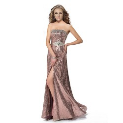 Formal Evening Dress Candy Pink A Line Strapless Floor Length Sequined