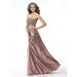 Formal Evening Dress - Candy Pink A-line Strapless Floor-length Sequined Special Occasion Dresses