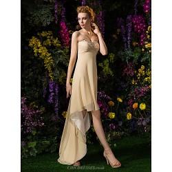 Asymmetrical Georgette Bridesmaid Dress Champagne Plus Sizes Petite A Line Sweetheart