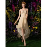 Asymmetrical Georgette Bridesmaid Dress - Champagne Plus Sizes / Petite A-line Sweetheart Special Occasion Dresses