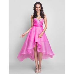 Formal Evening Prom Sweet 16 Dress Fuchsia Plus Sizes Petite A Line Sweetheart Strapless Asymmetrical Knee Length Organza