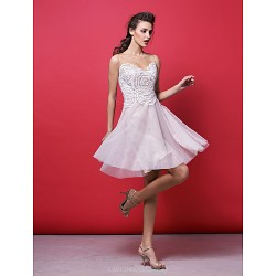 Cocktail Party Dress Blushing Pink Plus Sizes Petite A Line Princess Jewel Knee Length Lace Tulle