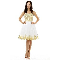 Cocktail Party Dress - White A-line Sweetheart Knee-length Tulle