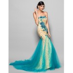 TS Couture Formal Evening Dress - Daffodil Plus Sizes / Petite Trumpet/Mermaid Scalloped Chapel Train Lace Special Occasion Dresses
