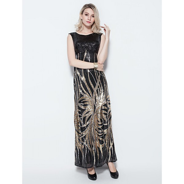 Formal Evening Dress - Multi-color Plus Sizes / Petite Sheath/Column Jewel Floor-length Sequined Special Occasion Dresses