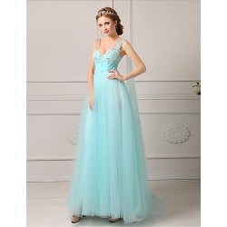 Formal Evening Dress - Ruby / White / Black / Pool / Candy Pink Plus Sizes / Petite A-line V-neck Floor-length Tulle
